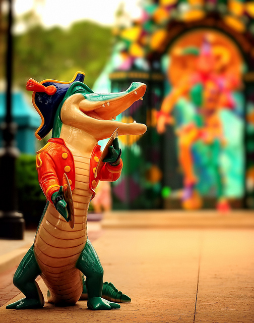 A toy alligator at Port Orleans dressed up to party