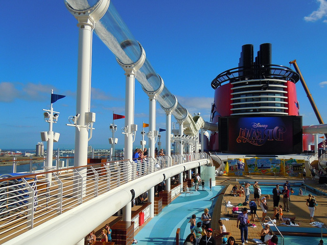 The AquaDuck and pool area of the Disney Dream cruse ship
