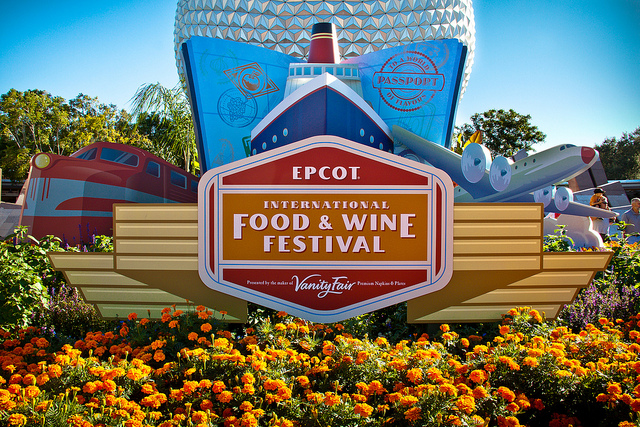 The sign at the Entrance to EPCOT for the Food and Wine Festival