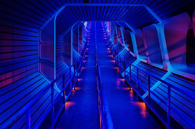 The dark tunnel you walk through at Space Mountain