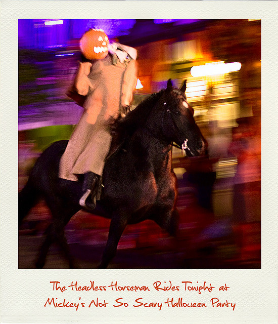 the Headless Horseman riding through the Magic Kingdom during Mickey's Not So Scary Halloween Party