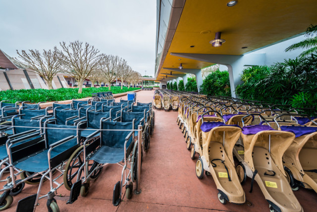 You can rent strollers, scooters, and wheelchairs at the parks. Photo by Cliff Wang.