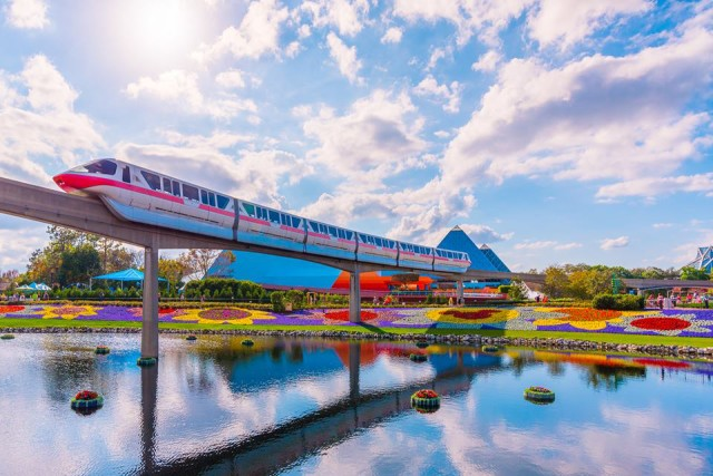 The Monorail arriving in EPCOT during the Flower and Garden Festival - Photo by WDW Shutterbug
