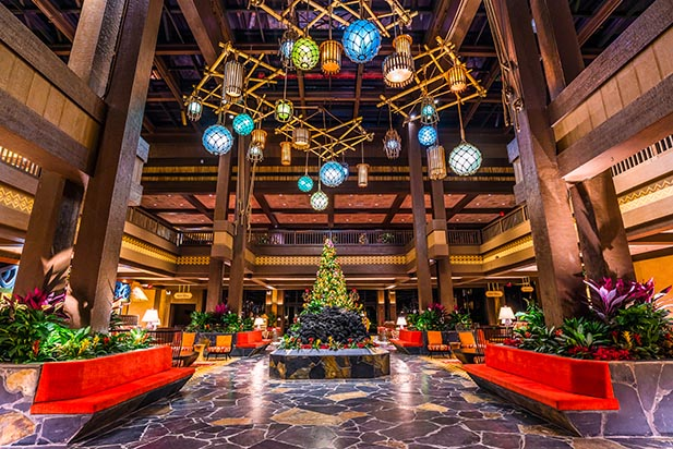the lobby for the Polynesian Village Resort