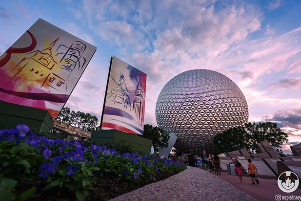 The decorations near Spaceship Earth for the Festival of the Arts at EPCOT