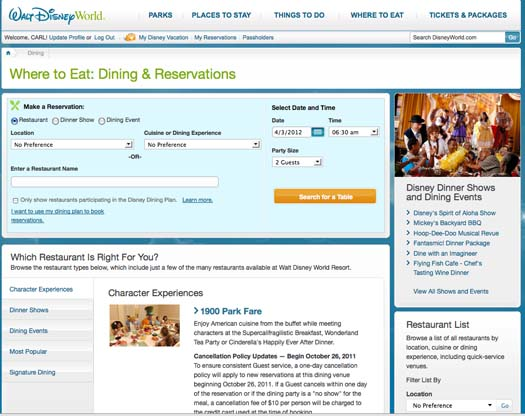 the Walt Disney World Dining & Reservations page from the Disney website