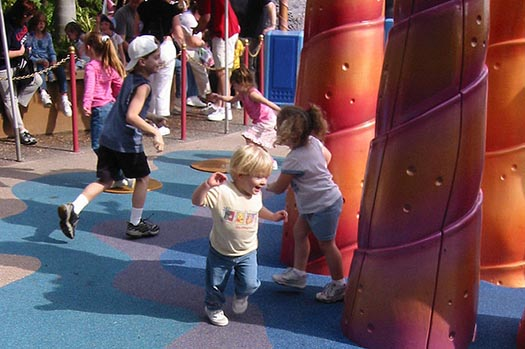 kids playing on the old Ariel's Grotto playground