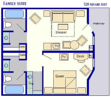 Layout of the Family Suite at the Disney All Star Movies Resort
