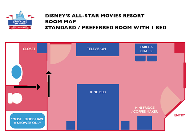 The King Room Layout for a refurbished room at Disney's All Star Movies Resort