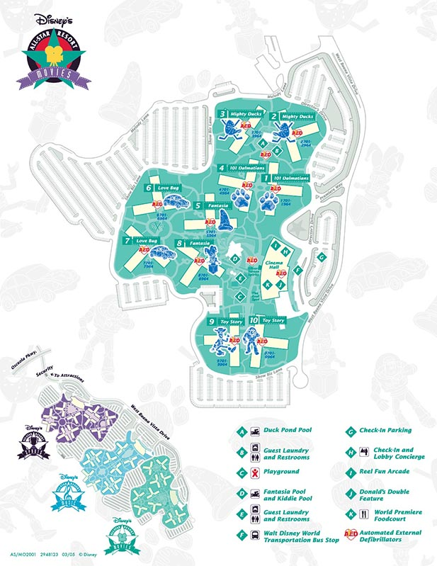 The map of the All Star Movies Resort