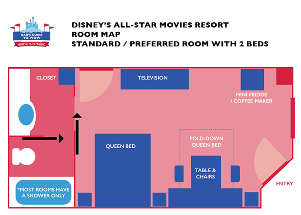 The Queen Room Layout for a refurbished room at Disney's All Star Movies Resort