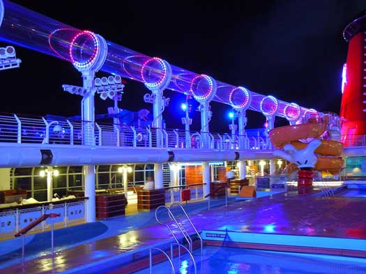 The AquaDuck at night on the Disney Dream