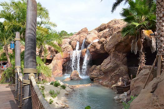 The entrance to Ariel's Grotto complete with a waterfall