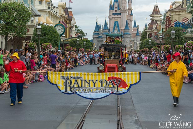 The beginning of the Rainy Day Cavalcade parade. Rain sometimes comes and drenches the August Disney World Crowds