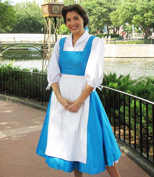 Belle standing in front of the lagoon in EPCOT
