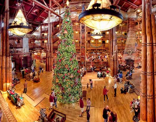 The interior of the Wilderness Lodge at Christmas