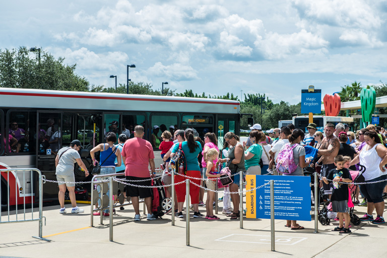 a line to get ona Magic Kingdom bus
