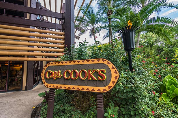 Captain Cooks sign at the Polynesian Resort