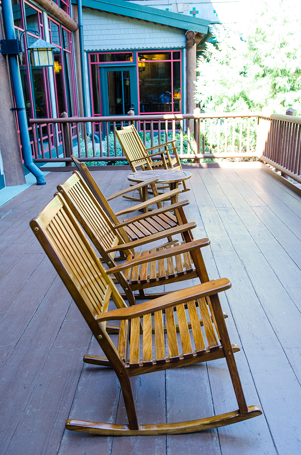 Chairs on the deck at the Wilderness Lodge Villas