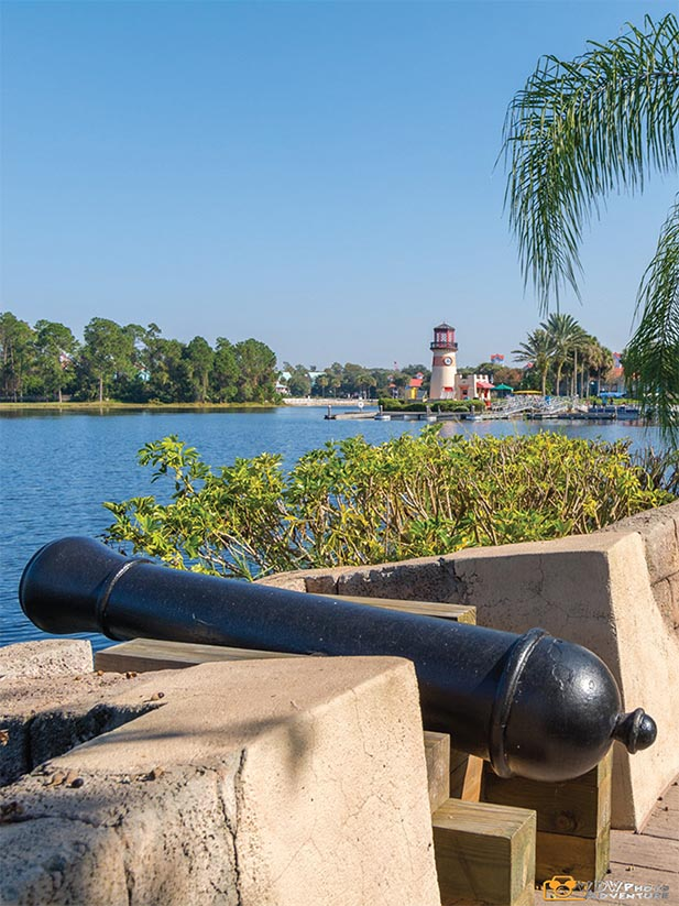 The cannon overlooking the main building of the Caribbean Beach Resort at Walt Disney World