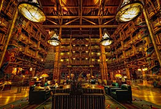 The beautiful lobby of the Wilderness Lodge