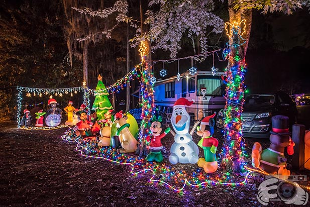 Christmas decorations at a campground at Fort Wilderness Resort