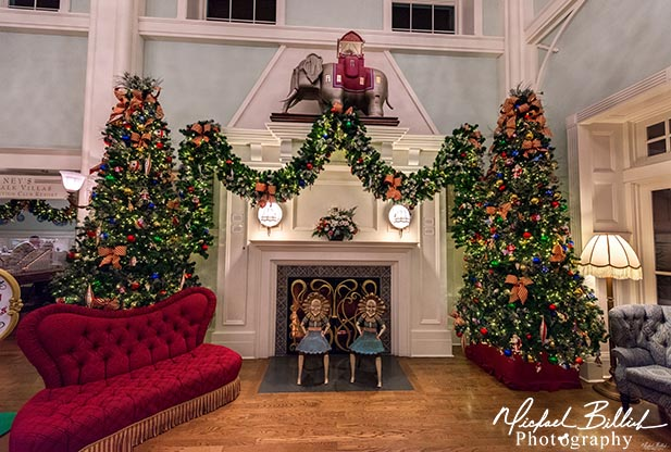 Christmas decorations around a fireplace at the Boardwalk Inn at Walt Disney World
