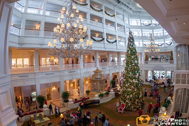 The lobby at the Grand Floridian Resort during Christmas