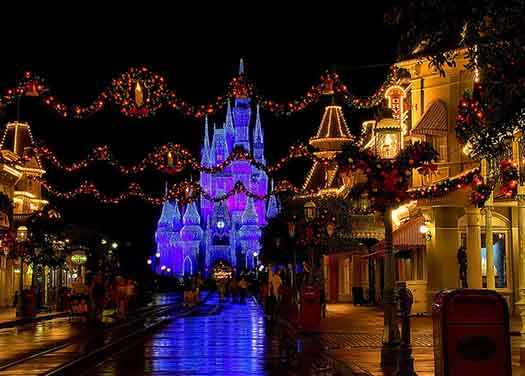 Main Street USA decorated for Mickey's Very Merry Christmas Party