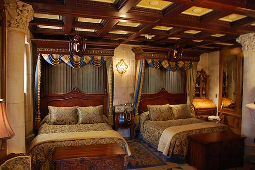 The beds in the Cinderella Suite at Cinderella Castle