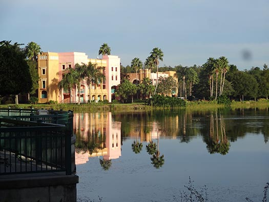 the Coronado Springs Resort reflecting off of the lake
