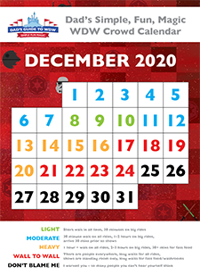Dad's 2020 December Crowd Calendar page