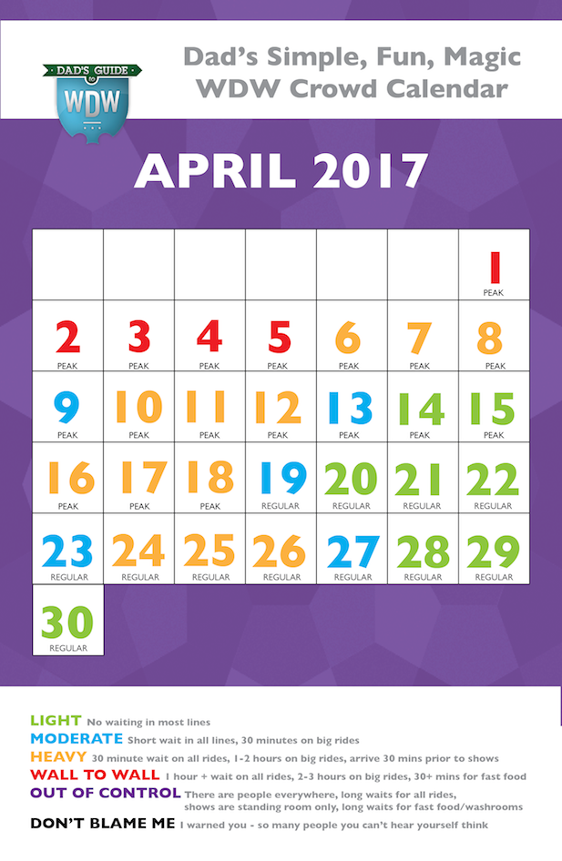 Dad's April 2017 Disney World Crowds calendar