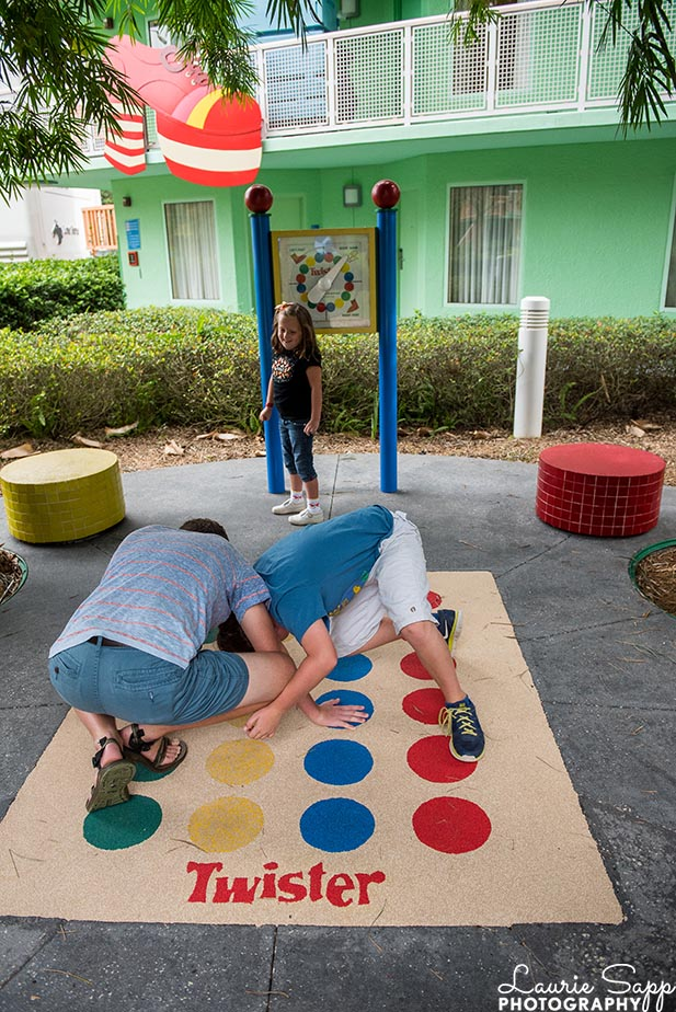 Playing Twister with the kids at the Pop Century