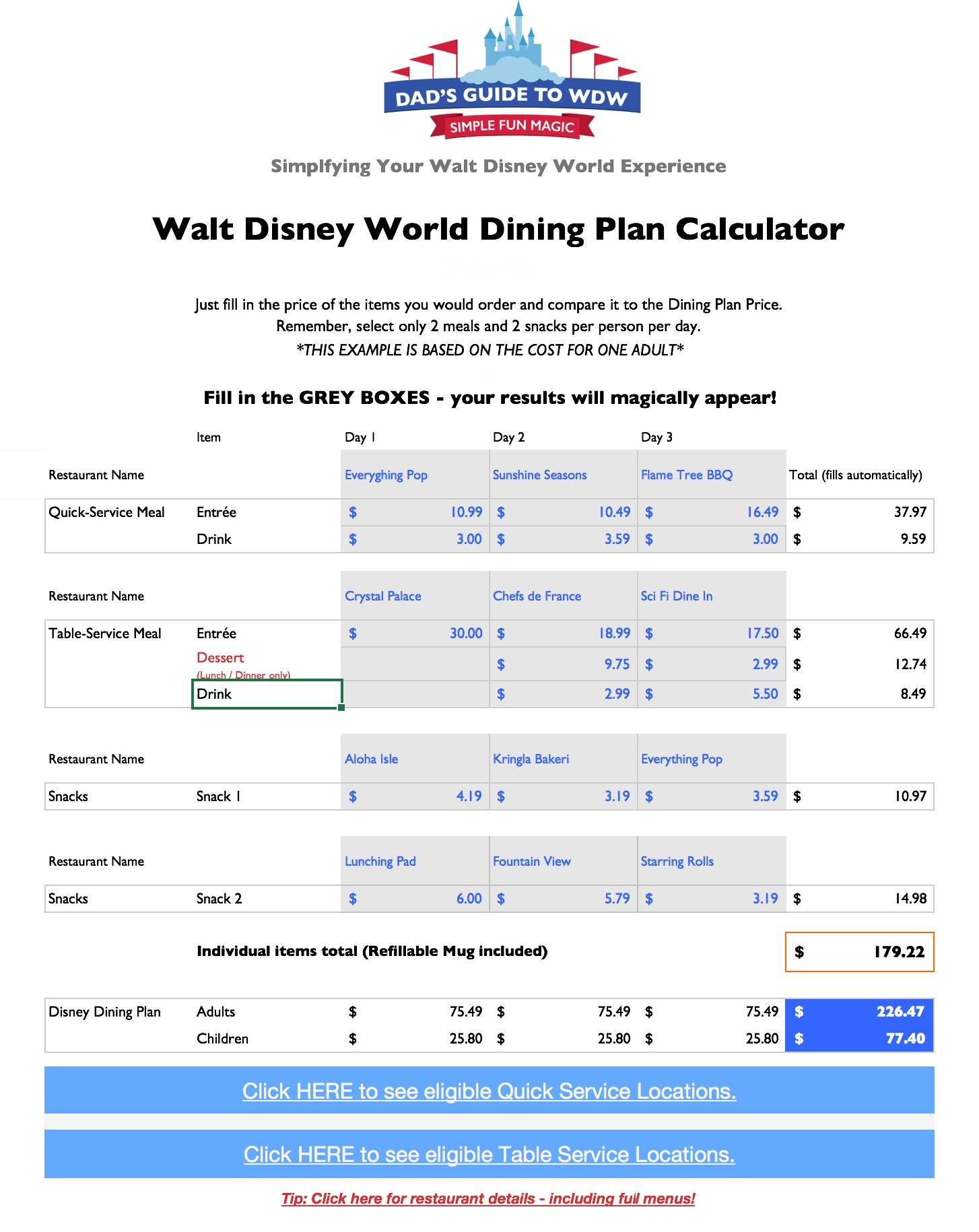 Disney Dining Plan Calculator