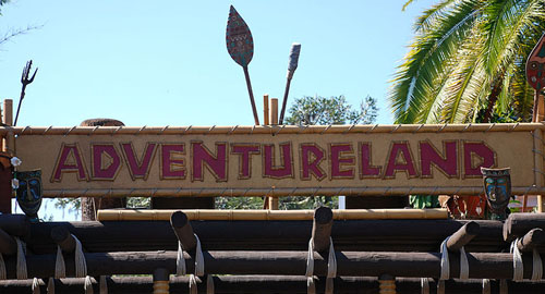 Sign on the entrance to Disney Adventureland