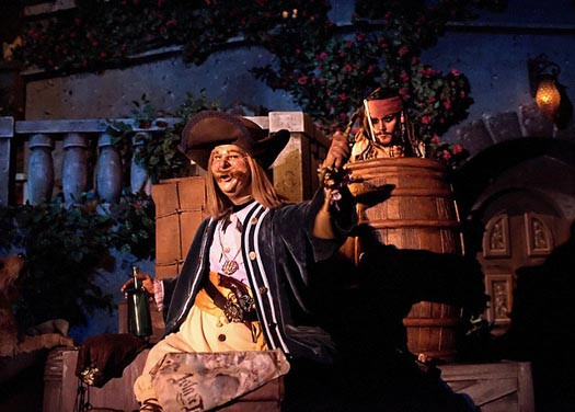 Pirates of the Caribbean's Captain Jack in a barrell in Disney Adventurland