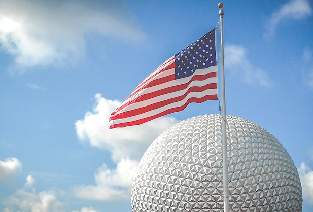Flag over Spaceship Earth