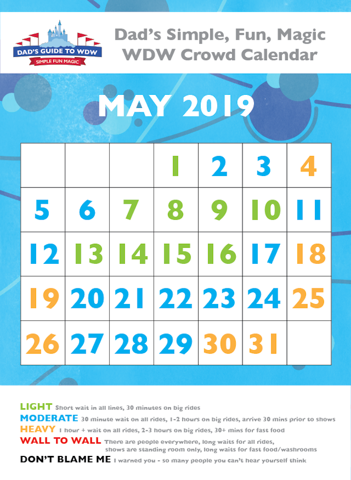 May 2019 Disney World Crowds calendar