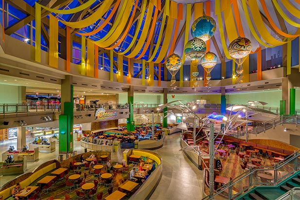Grab a bite to eat during off times to avoid Walt Disney World crowds at Sunshine Seasons Food Court