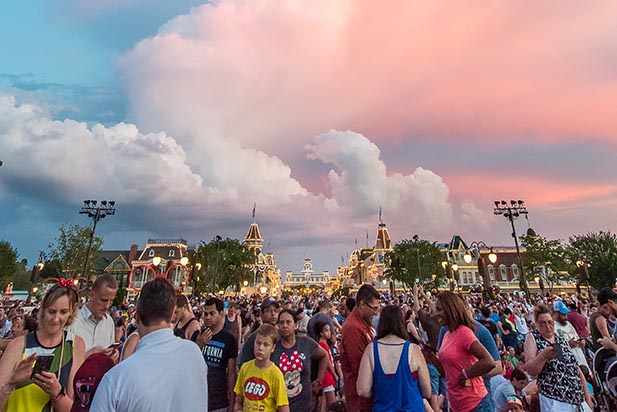 People waiting around in the Magic Kingdom