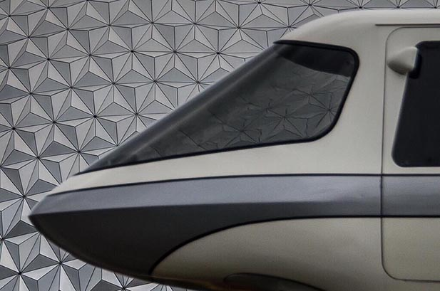 Refections of Space Mountain off of the Disney World Monorail
