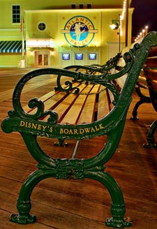 A bench late at night on Disney's Boardwalk