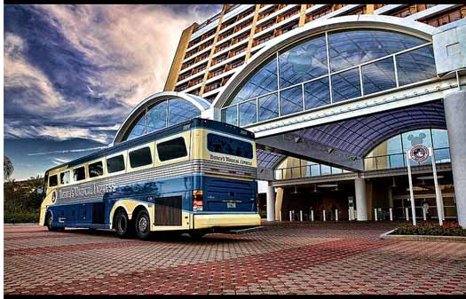 Disney's Magical Express Bus in front of the Contemproary Resort