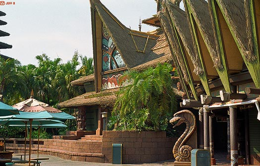 The entrance to the Enchanted Tiki Room