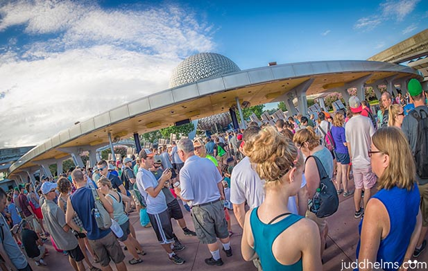 The entrance area to Epcot