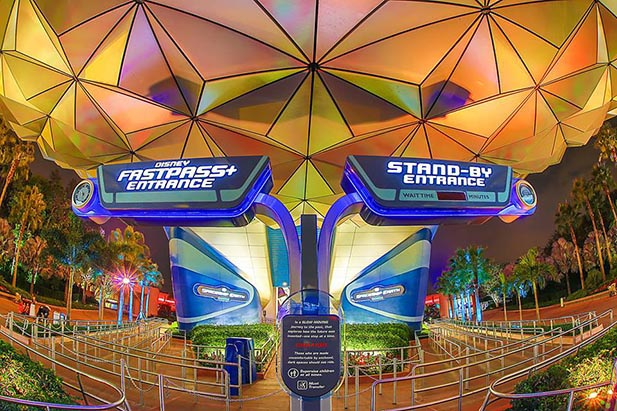 The FastPass entrance to Spaceship Earth