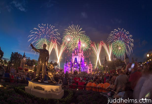The evening fireworks crowd at the Magic Kingdom