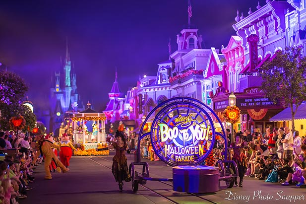 The beginning of the Boo To You Parade at Mickey's Not So Scary Halloween Party