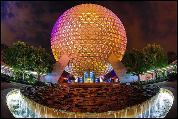 The entrance to Future World with Spaceship Earth in the background